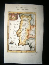 Mallet 1683 Antique Hand Col Map. Portugal